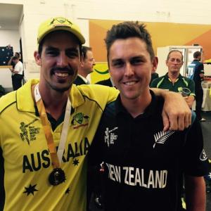 Two great left handed bowlers and friends share a moment after the World Cup final.