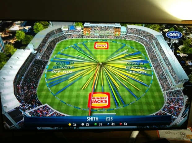 Most blokes would be happy if this was their season wagon wheel. Steve Smith's 215 at Lords went all around the ground.