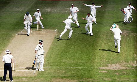 Players ran in all directions celebrating the wicket